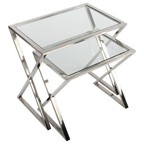 Beistelltisch Glas Metall by Beistelltische Metall Silber 2er Set Beistelltisch