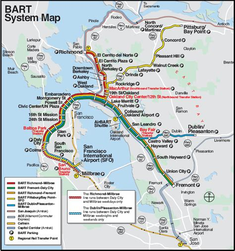 san francisco map with bart bart in san francisco map