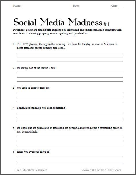 free printable activity sheets for middle school social media madness grammar worksheet 1 free worksheet