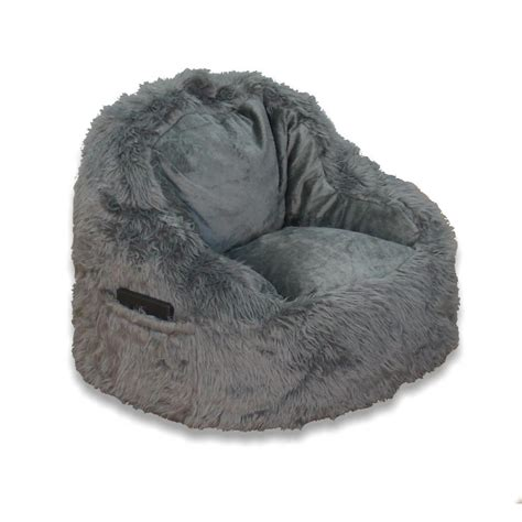 structured bean bag chair grey fur structured bean bag 9587501 the home depot