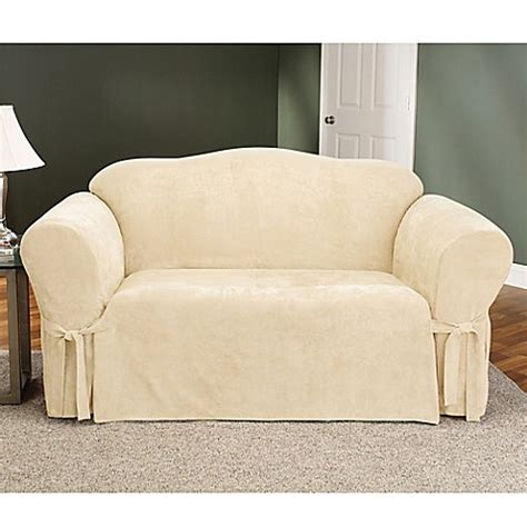 slipcovers bed bath and beyond sure fit 174 soft suede loveseat furniture cover bed bath