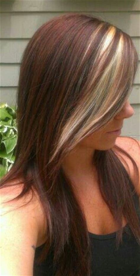 blonde in the front and brown and peekaboo highlights in pinterest beautiful red brown with a blonde peekaboo i did today