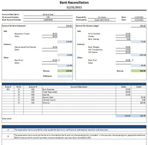bank reconciliation form free excel bank reconciliation template