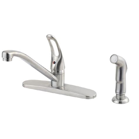 Lowes Pfister Faucet by Shop Pfister Lowe S Classic Stainless Steel 1 Handle Low Arc Kitchen Faucet With Side Spray At