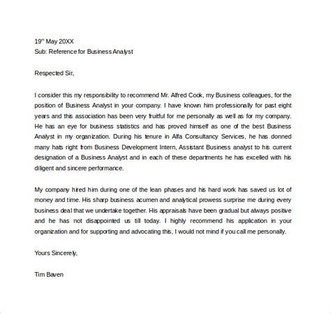 Letter Of Reference Business Analyst business reference letter 11 free documents in