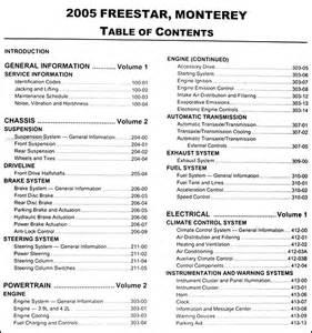 2005 ford freestar mercury monterey repair shop manual set original