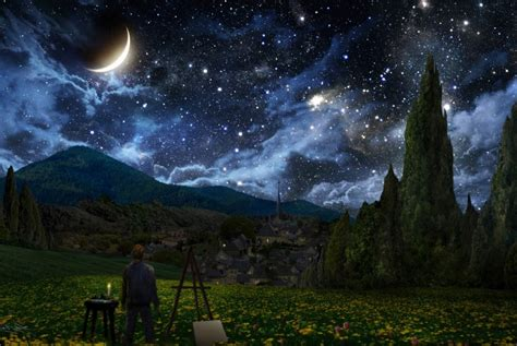 starry night sky painting wallpaper widescreen