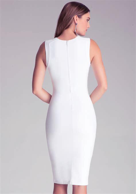 Dress Bebe Midi 1 bebe bodycon midi dress in white lyst