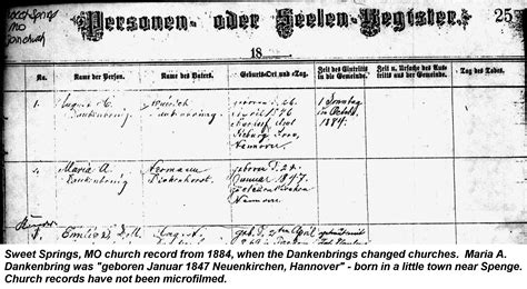 Hannover Germany Birth Records Dickenhorst And August Dankenbring Genealogy