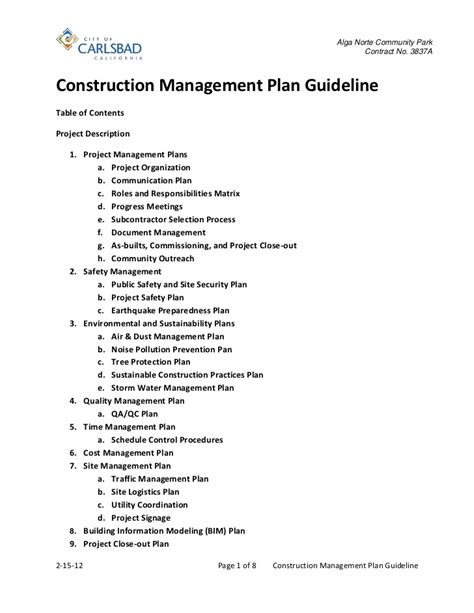 construction environmental management plan template construction management plan guideline 2 15 12