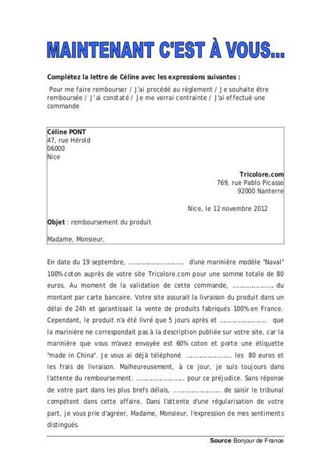 Modèles De Lettres Formelles Faire Une R 233 Clamation