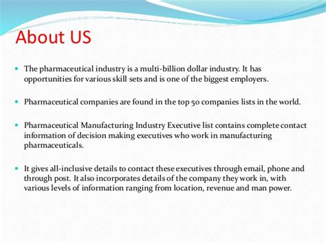 pharmaceutical manufacturing industry executives list