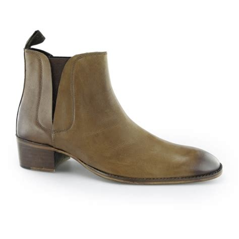 mens chelsea boots cuban heel gucinari george mens cuban heel chelsea boots brown