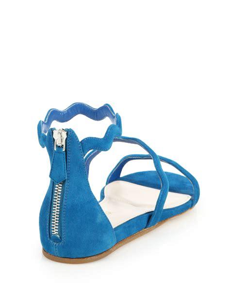 flat suede sandals prada scalloped suede flat sandals in blue lyst