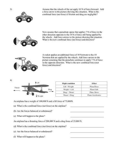 Forces Worksheet by Balanced And Unbalanced Forces Worksheet