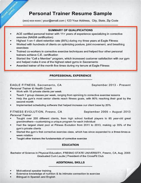 skills summary resume exles exles of summary for resume 18 personal trainer