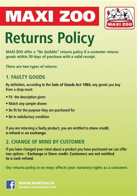 one return policy returns policy maxi zoo