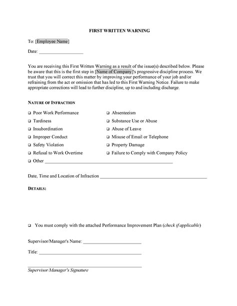 professional warning letters templates templatelab