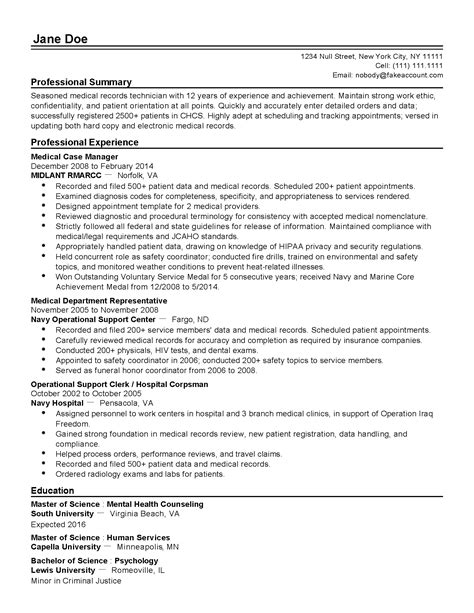 Patient Commitment Letter Professional Records Technician Templates To Showcase Your Talent Myperfectresume