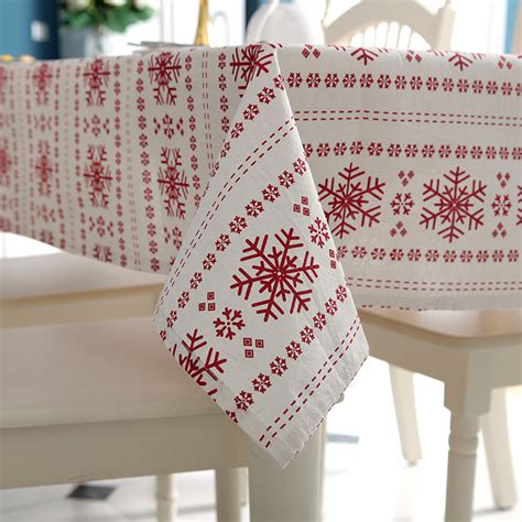 snowflake pattern tablecloth senisaihon linen cotton tablecloth red snowflakes