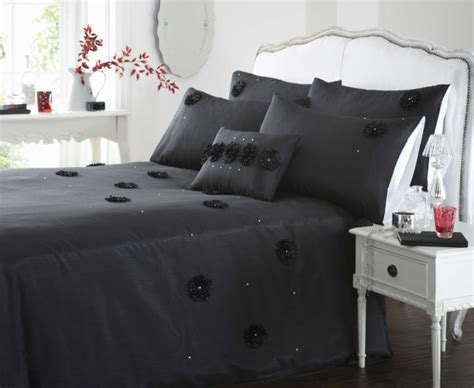 Azmeela Almira Classic Black almira embellished faux silk duvet cover set from century textiles