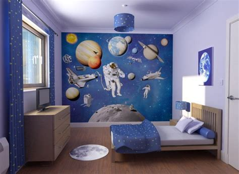 space themed bedroom decorating with a space theme