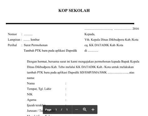 format surat pernyataan gubernur pengajuan nuptk contoh format surat permohonan penambahan ptk baru