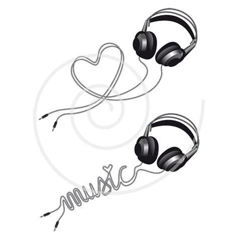 heartbeat headphones tattoo music love headphone with heart digital clip art