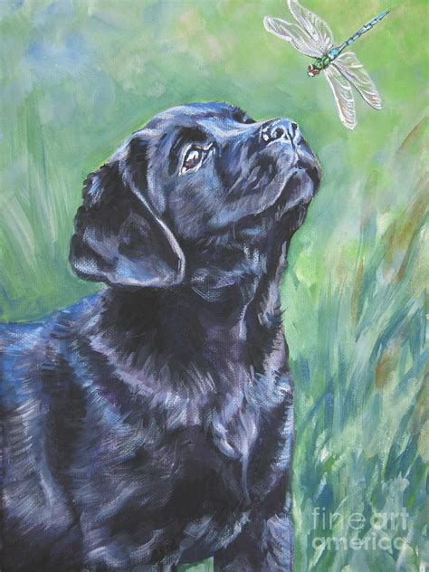 Labrador Retriever Artwork by Labrador Retriever Pup And Dragonfly Painting By Lee Ann