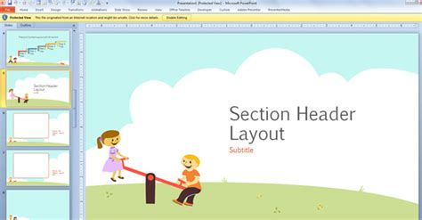 Free Children Powerpoint Template With Cartoons For Powerpoint 2013 Children S Portfolio Template Free