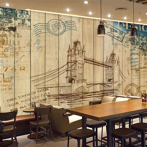coffee shop wallpaper murals custom photo wallpaper 3d retro wooden wall painting