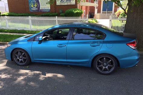 honda civic car wrap lagoon blue civic wrap wrapfolio