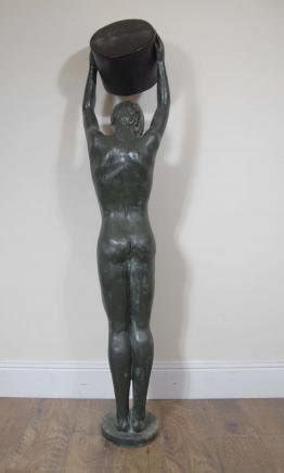 Buket Boxs bronze boy statue 1930s for sale