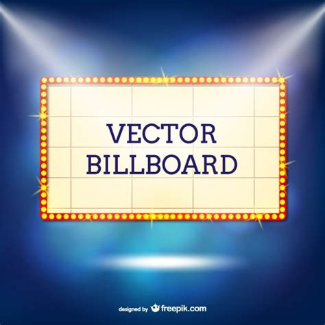 with lights retro billboard with lights vector free