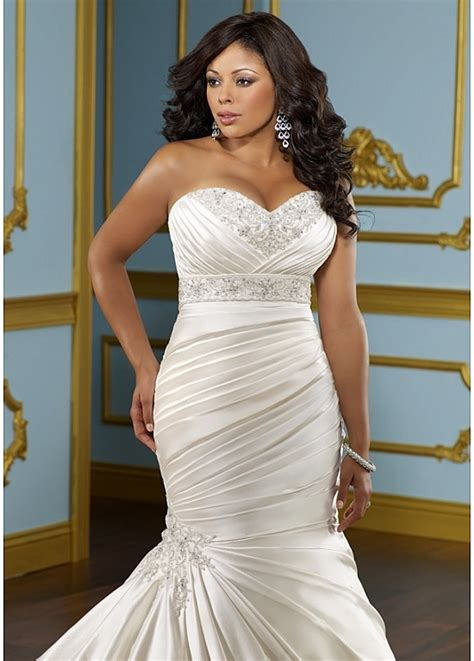 Glamorous Satin Mermaid Sweetheart Neckline Plus Size Wedding Dress With Beads & Lace Appliques