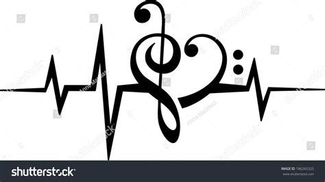 music note heart treble bass clef stock vector 186265325