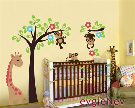 jungle baby room ideen monkeys wall decal nursery wall decal baby nursery