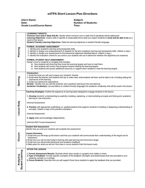 visual art lesson plan template tpa lesson planning