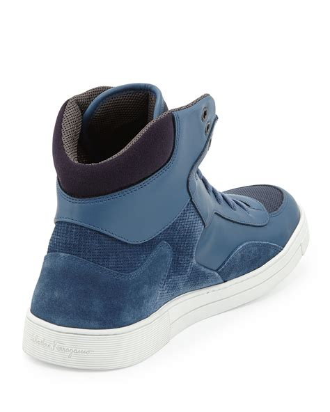 ferragamo sneakers mens ferragamo robert mens leather suede high top sneaker in