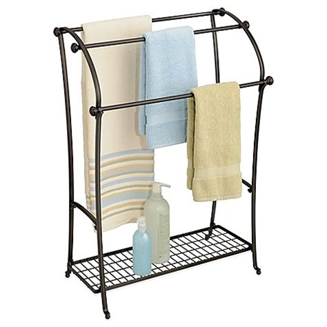 bathroom towel stands interdesign 174 york 174 lyra free standing towel stand in