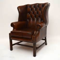 leather winged armchair antiques atlas antique deep buttoned leather wing back