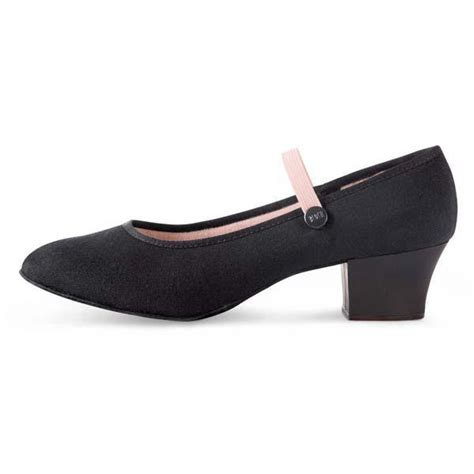 character shoes for bloch tempo cuban heel canvas character shoe black