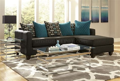 Black Fabric Sectional Sofas 3002 Sectional Sofa In Charcoal Black Chenille Fabric