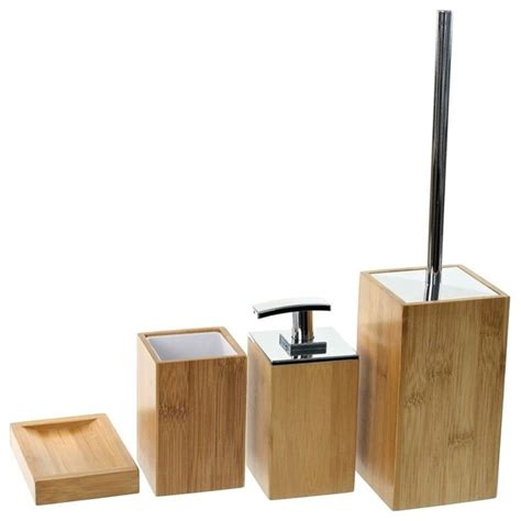 wooden 4 bamboo bathroom accessory set