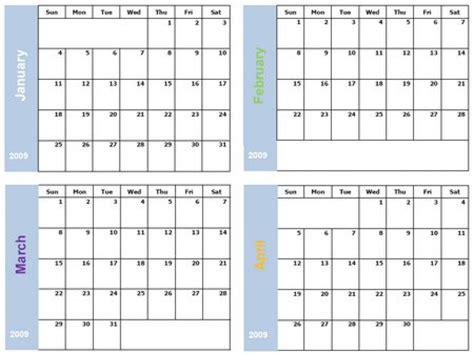 4 Calendars On One Page Printable 4 Month Calendar Printable Calendar
