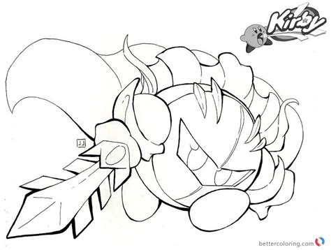Sword Kirby Coloring Pages by Kirby Coloring Pages Fighting With Sword Fanart Free
