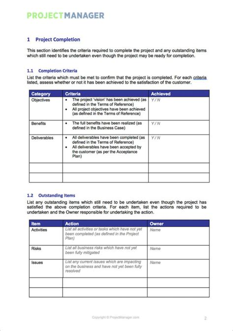 project closure template project closure template projectmanager