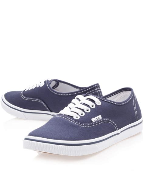 lyst vans navy authentic lo pro trainers in blue for