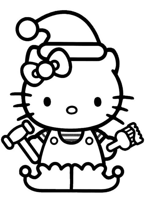 christmas kitty coloring page hello kitty christmas elf coloring pages christmas