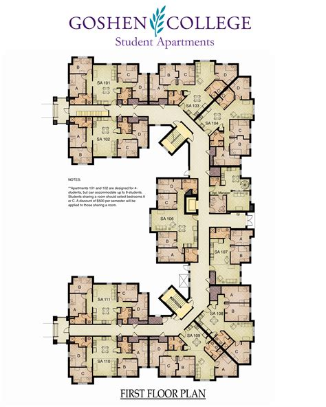 Small Church Floor Plans by Octavio Romero Student Apartments Campus Life Goshen
